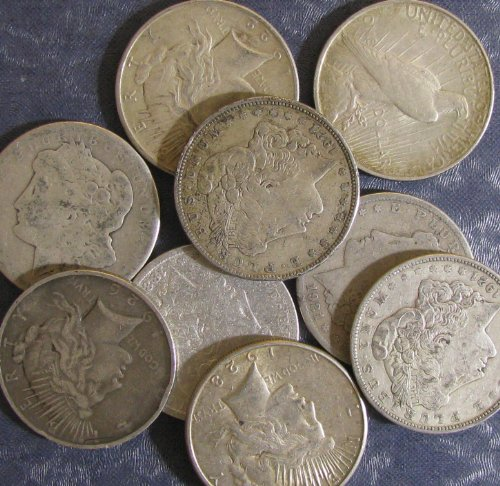 Silver Us Type Coin - Lot of 3: U.S. Silver Dollars - Morgan & Peace Type - Random Dates