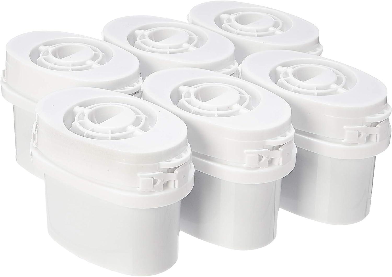 AmazonBasics - Cartuchos de filtro de agua, paquete de 6 filtros aptos para las jarras Aqua Optima y Brita MAXTRA (excepto jarras con filtro MAXTRA+)
