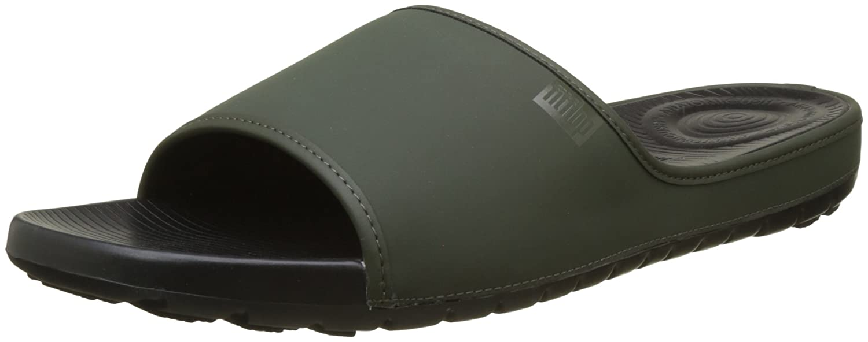 Fitflop Lido Slide Sandals in Neoprene, Sandalias con Punta Abierta para Hombre 47 EU|Green (Camouflage Green)
