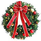 ANOTHERME 24 Inch Pre-lit Christmas Wreath Red Bow, Red and Gold Ball Berries Pine Core, Artificial Door Wreath 50 Clear LED Lights with Timer