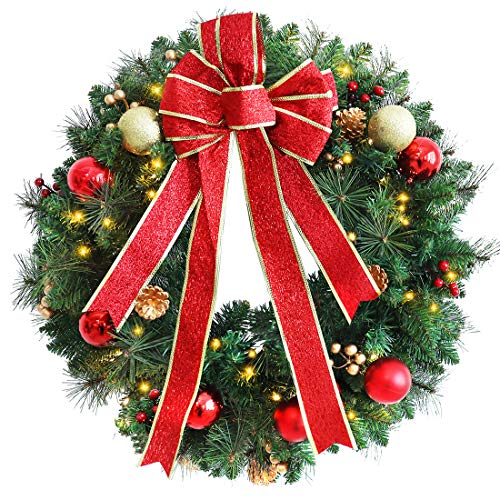 ANOTHERME 24 Inch Pre-lit Christmas Wreath Red Bow, Red and Gold Ball Berries Pine Core, Artificial Door Wreath 50 Clear LED Lights with Timer (Wreaths Christmas)