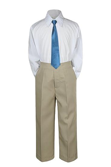 2T 3pc Formal Baby Teens Boys Purple Necktie Khaki Pants Sets Suits S-14