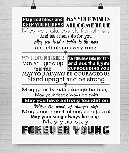 Forever Young Lyric Fine Art Print on Cotton Paper, Various Sizes **Unframed**