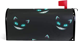 "WELLDAY Magnetic Mailbox Covers Black Cheshire Cat Mail Wraps Post Letter Box Cover for Garden Yard Decor Standard Size 18"" X 21"""