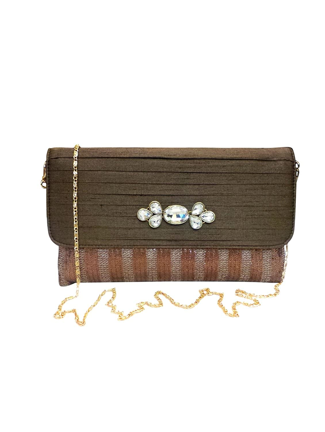 Bhamini Brown Gold Touch Jute Clutch with Kundan Brooch
