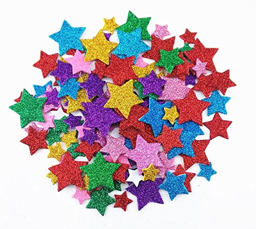 Honbay 200pcs Colorful Self Adhesive Star Shape Foam Glitter Stickers