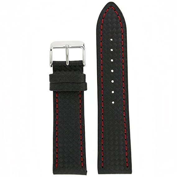 1770ee4be Image Unavailable. Image not available for. Color: Watch Band Carbon Fiber  Black Red Stitching ...