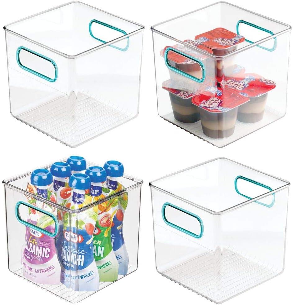 "mDesign Plastic Kitchen Pantry Cabinet, Refrigerator or Freezer Food Storage Bins with Handles - Organizer for Fruit, Yogurt, Snacks, Pasta - Food Safe, BPA Free, 6"" Cube, 4 Pack - Clear/Blue"