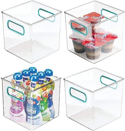 mDesign Juego de 4 cestas organizadoras para la cocina – Caja de plástico para el frigorífico – Organizador de nevera para guardar lácteos, frutas y otros alimentos – transparente/azul: Amazon.es: Hogar