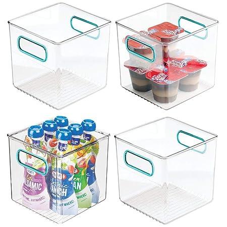 mDesign Juego de 4 cestas organizadoras para la cocina - Caja de ...