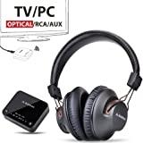 Avantree HT4189 Wireless Headphones for TV Watching & PC with Bluetooth Transmitter (Optical Digital Audio, 3.5mm AUX, RCA, PC USB), Plug & Play, No Delay, 100ft Long Range, 40hrs Battery