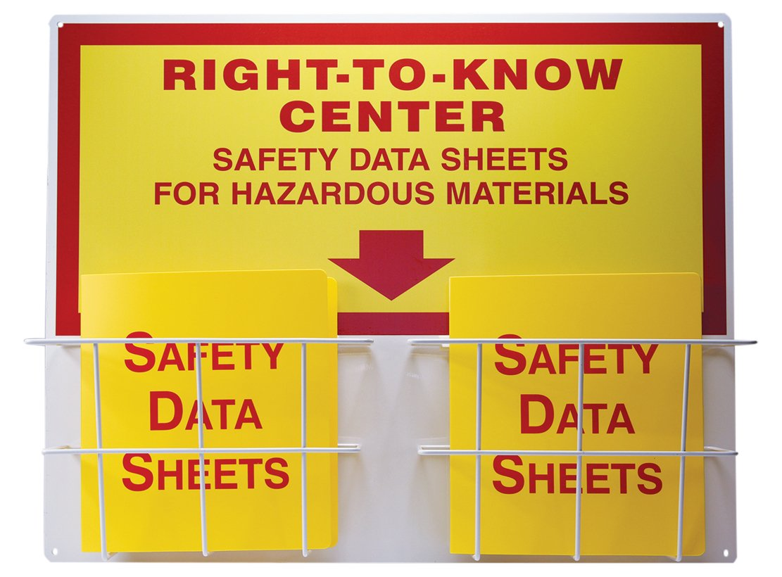 Right-to-Know Center, 0.063'' Thick Board with (2) Coated Wire Basket, (2) 1-1/2'' Safety Data Sheets 3-Ring Binder Included, Red/Yellow on White