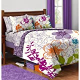 7 Piece Reversible Colorful Floral Designed Comforter Set Full Size, Featuring Vibrant Bloom Flowers Printed All Over Themed, Teenager Girls Cozy Soft Hawaiian Bedding, Lavender, Green, Multicolor