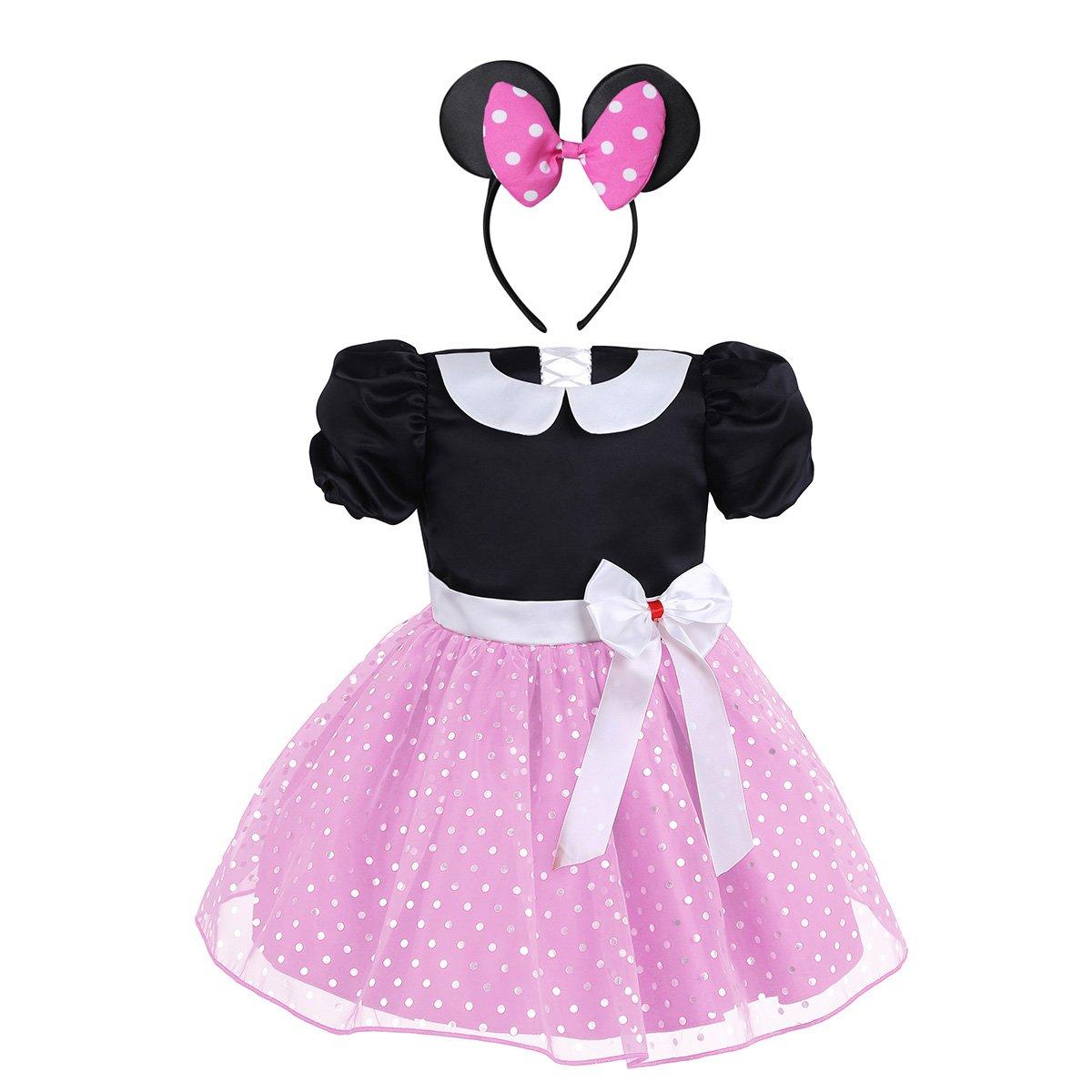 CHICTRY Baby Mädchen Kleidung Set 2tlg. Prinzessin Kostüm mit Ohren Haarreif Polka Dots festlich Party Fasching Karneval Kostüm Gr. 80 86 92 98 104
