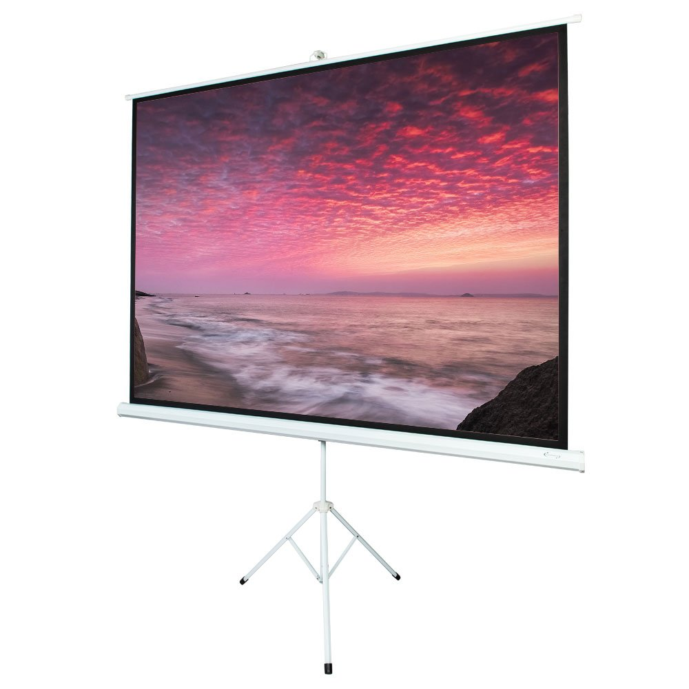 ShowMaven 100'' 4:3 HD Adjustable Tripod Projector Projection Screen Portable Pull up Foldable Stand (Wrinkle-Free, 1.3 High Gain, 160° Viewing Angle and Includes a Feather Duster)