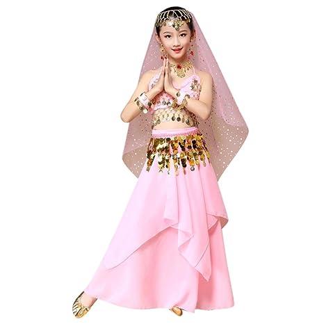 23158e0d6f95b Danse Orientale Enfant Fille Tenue Costume Danse Orientale Danse du Ventre  Vetement Ensemble crop top et