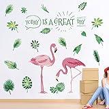 ZooArts ウォールステッカー 植物 緑の葉 フラミンゴ 爽やか 自然風 DIY 玄関 バスルーム 壁紙シール 壁の装飾 環境保護 おしゃれ はがせる インテリア雑貨
