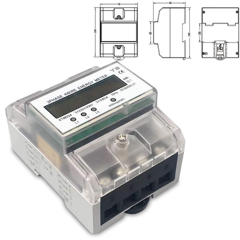 DOMINTY 3-Phasen-4-Draht Messgerä t LCD digitaler Drehstromzä hler Stromzä hler MID GEEICHT/BEGLAUBIGT 3x230/400V 5(80) A fü r DIN Hutschiene