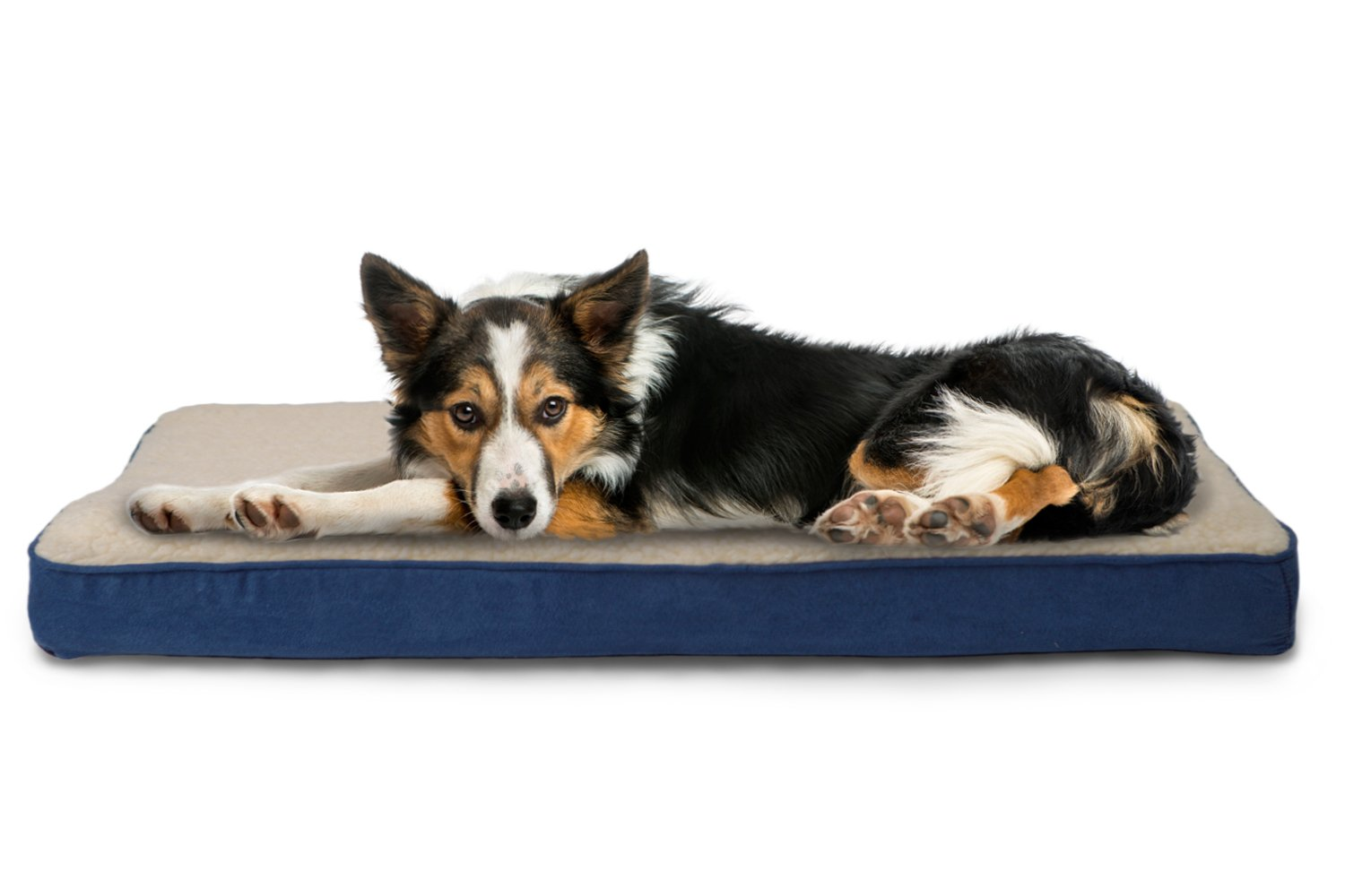 FurHaven Pet Dog Bed   Memory Foam Sherpa & Suede Mattress Pet Bed for Dogs & Cats, Navy, Large