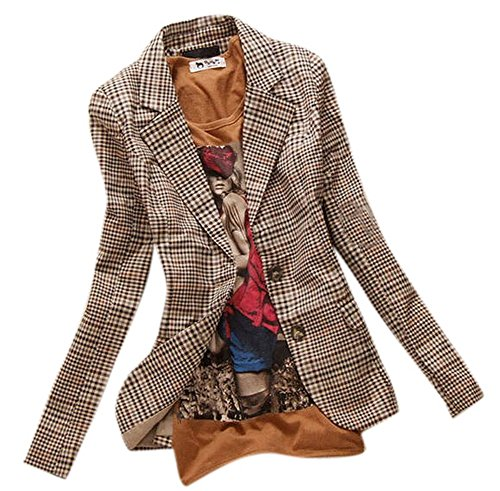 Allbebe Women's Boyfriend Classic Slim Petite Plaid Elbow Patch Jacket Blazer,Brown (XL) (Cropped Jacket Brown)