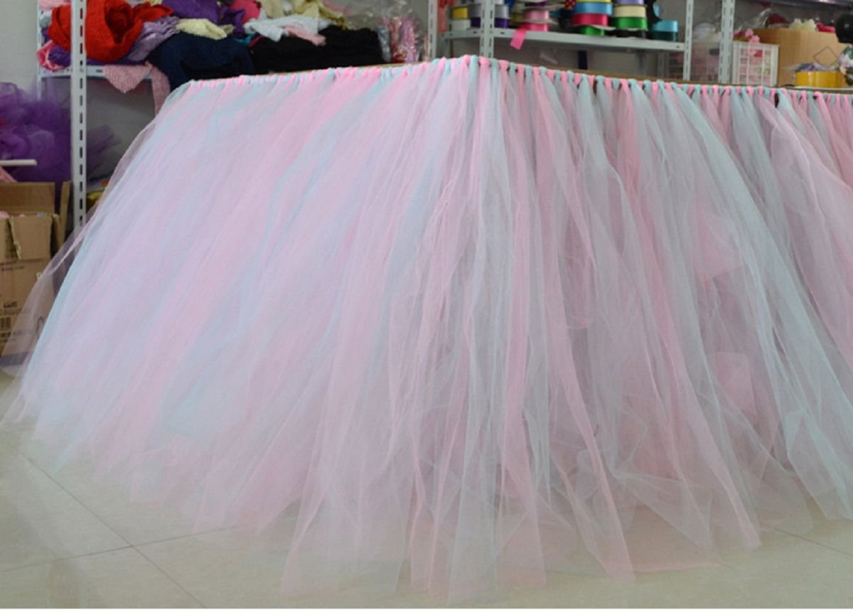 Stuffwholesale Fitted Party Table Skirt Children Party Decoration Table Cloth (Blue+Pink)