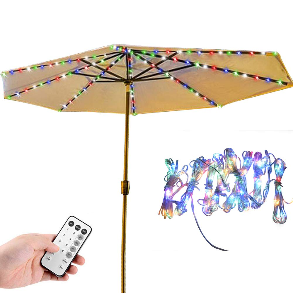 Patio Umbrella Lights, Learsoon 8 Lighting Mode 104 LED with Remote Control Umbrella Lights Battery Operated Waterproof Outdoor Lighting, for Patio Umbrellas/Outdoor Use/Camping Tents (Multi-Color)
