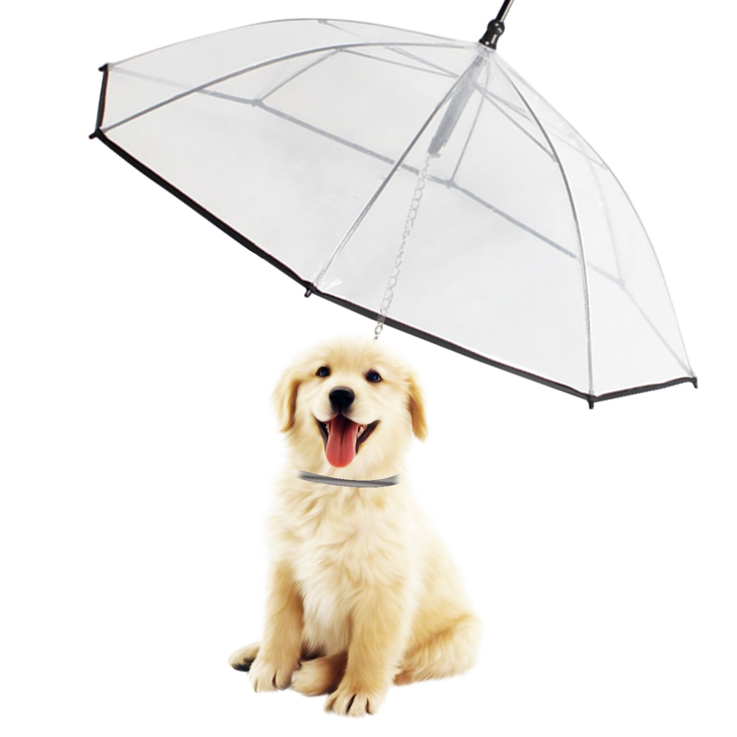 Morjava W555 Pet Dog Umbrella Leash Transparent Waterproof Dog Walking