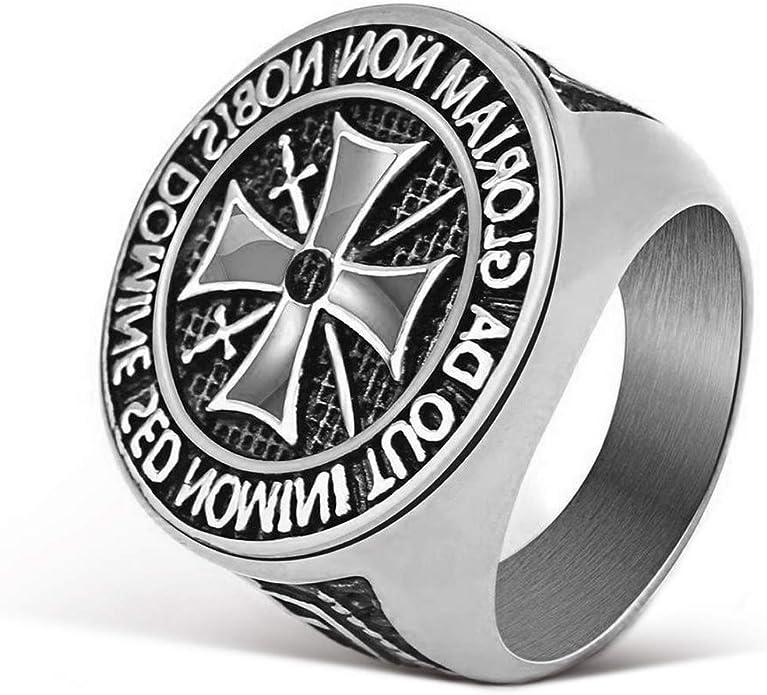 Emma joyas – anillo Hombre Mujer Unisex sello escudo Templarios No Nobis Domine Cruz de Malta de acero de alta calidad brillante y negro tamaño 31 – Pack Regalo: Amazon.es: Joyería