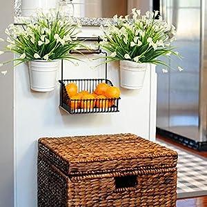 HOGADO Artificial Shrubs, 4pcs Fake Calla Lily Faux Plastic Greenery Plants Flower Arrangement for Home Kitchen Dining Room Hanging Planter Garden Cream 2