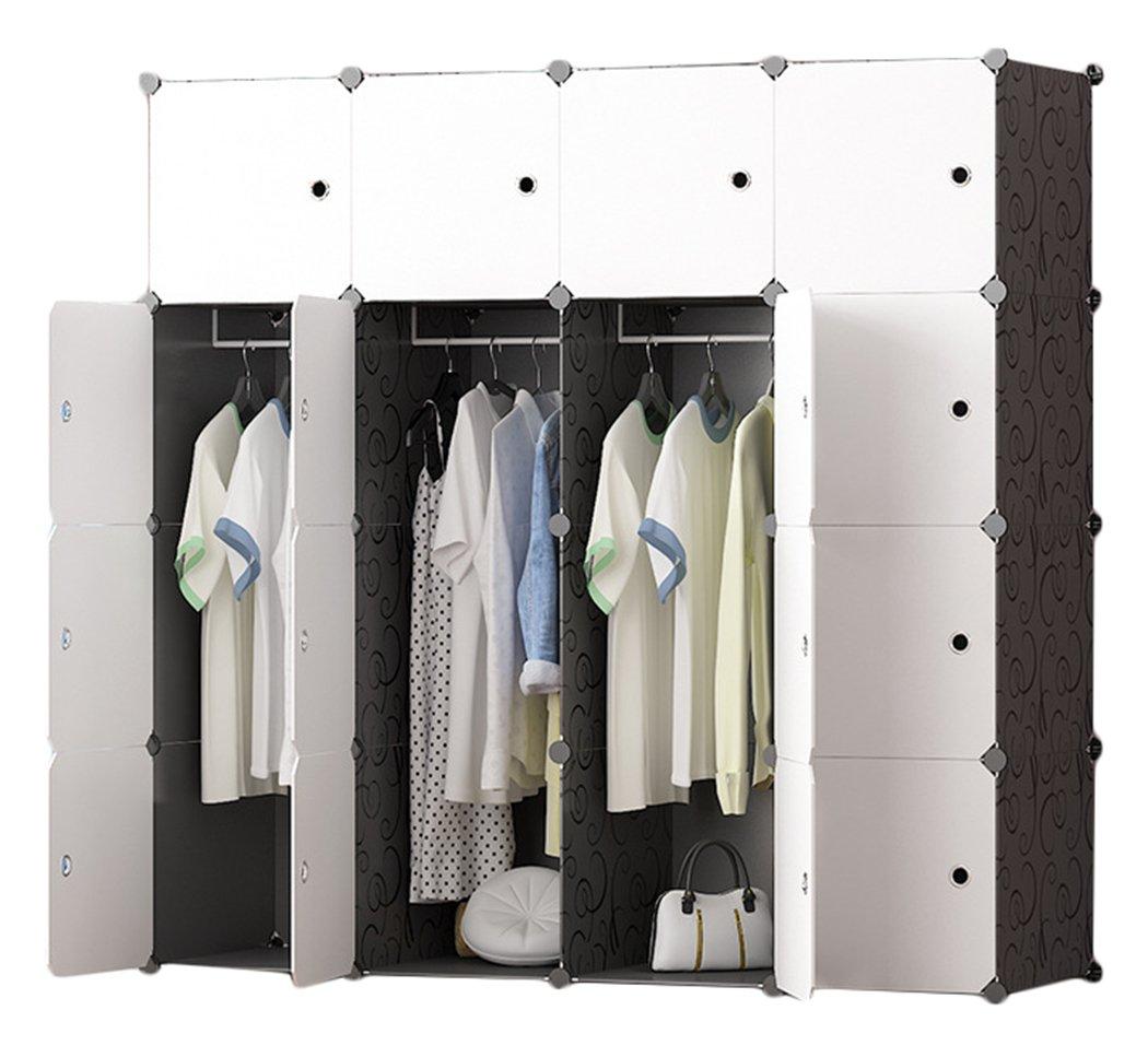 Salamaya Home DIY Portable Wardrobe Hanging Clothes, Interlocking Plastic Cabinet Modular Armoire Storage Cupboard Organizer Cube Closet Storage Shelf Spacing Save, Shoes, Book 12 Cubes