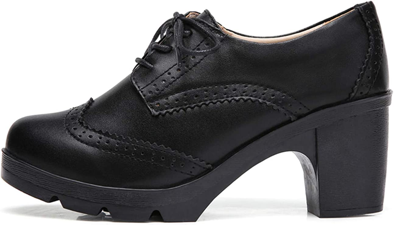   DADAWEN Women's Leather Classic Lace Up Platform Chunky Mid-Heel Square Toe Oxfords Dress Pump Shoes   Oxfords