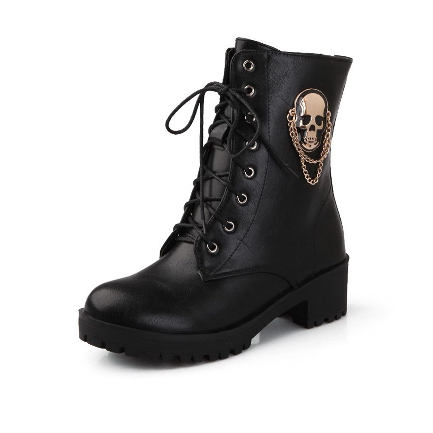Womens Round Closed Toe Kitten Heels PU Solid Boots with Bandage and Skull Heads
