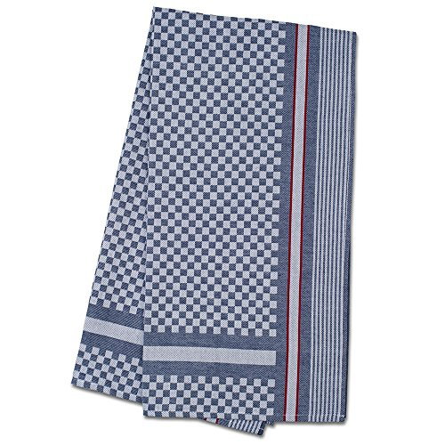 JB Prince Extra Large Side Towel Black Check with Red Stripe 19.5 x 39.45 pack