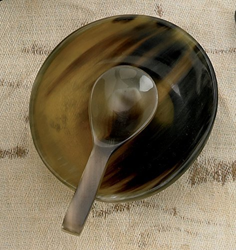 KINDWER Natural Horn Bowl with Horn Spoon (Horn Serving Spoon)