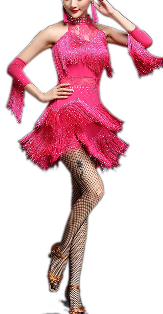 Salsa Latin Looking Inspired Halloween Dance Costumes Collection Dress Women, Pink, 4 by Whitewed