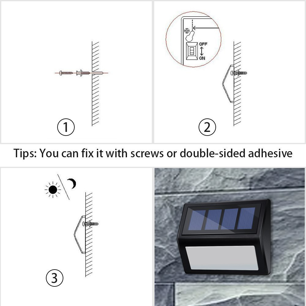 White Light 6 LED Solar Deck lights Wireless Waterproof Security Lamps Lighting for Stairs Patio Garden Pathway ANDEFINE 8 Pack Solar Step Lights Outdoor