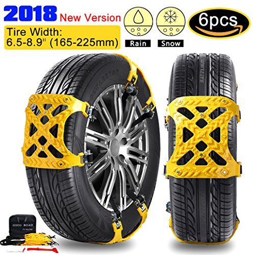 【2018 New Version】Anti-skid Tire Chains Anti Slip Tire Chains Snow Tire Chains Automotive Passenger Vehicle Snow Chains Mud Chains for Car/SUV/ Truck, Tire Width 165-225mm, Set of 6