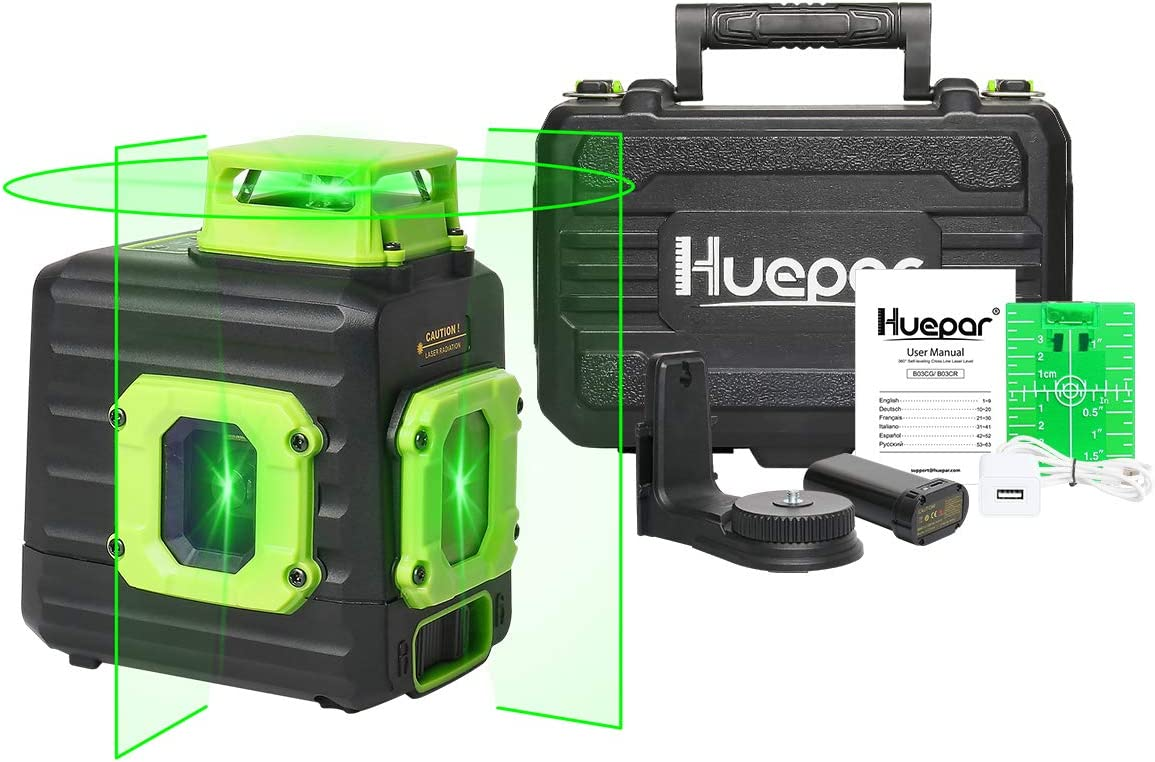 Huepar Cross Line Laser Level, Green 360 Horizontal and Two Vertical Lines, Self-Leveling Alignment Multi Line Laser Tool, Li-ion Battery with Type-C Charging Port Hard Carry Case Included – B21CG