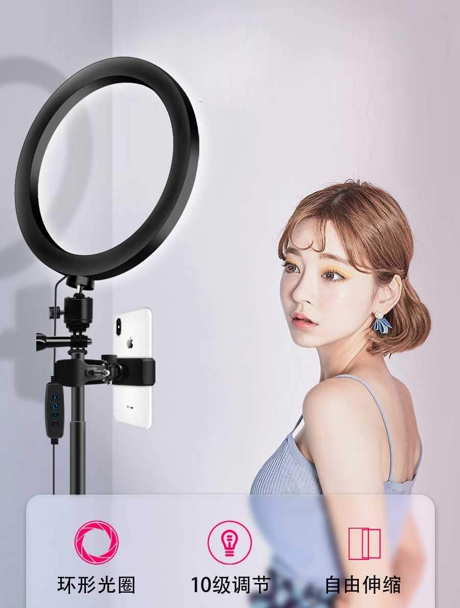 XYSQWZ Ring Light Led 10 Ring Light Kit with 3 Lighting Modes and 10 Brightness 3200K-5600K Dimmable LED Ring Lights for Makeup Camera Shooting YouTube