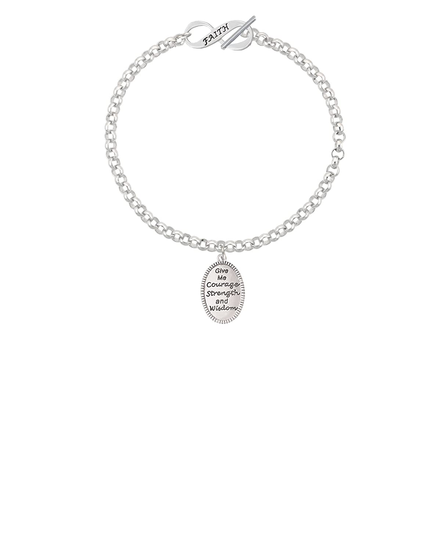 8 Silvertone Give Me Courage Strength Wisdom Medallion Faith Infinity Toggle Chain Bracelet