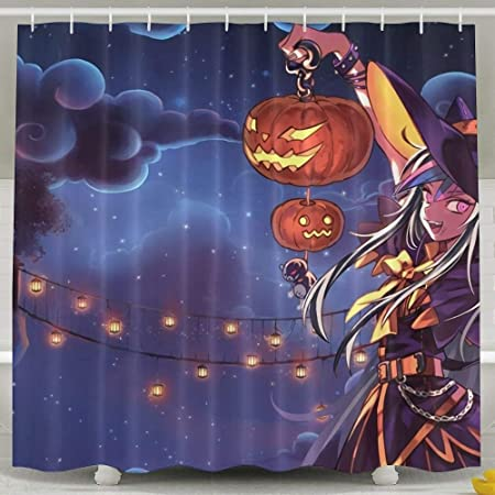 Setyserytu Shower Curtains Bath Curtain Danganronpa 2 Ibuki Mioda Danganronpa Halloween Anime Girls Wit Pumpkin Jack O Lantern Cool Bathroom Curtains Amazon Co Uk Kitchen Home