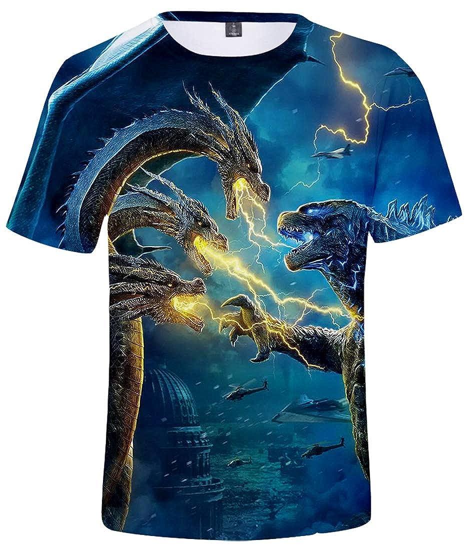 PANOZON Uomo T-Shirt 3D Stampa Figura di Film dei Mostri Gojira Godzilla Girocollo Sportivo Maglietta