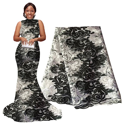 pqdaysun 5 Yards African Net Lace Fabrics Nigerian French Fabric Embroidered and Rhinestones Guipure Cord Lace (black and white)