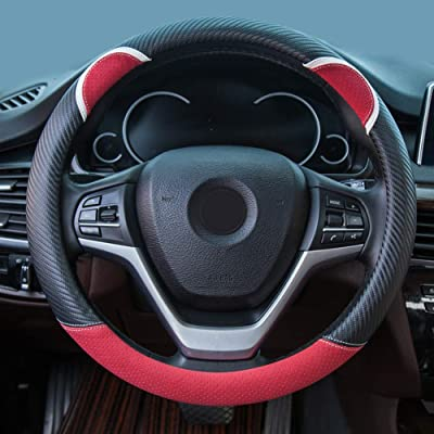 Alusbell Cute Carbon Fiber Steering Wheel Cover Synthetic Leather Auto Car Steering Wheel Cover for Women 15 Inch Red: Automotive