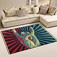LORVIES Hand In Rock Roll Sign Area Rug Carpet Non-Slip Floor Mat Doormats for Living Room Bedroom 72 x 48 inches