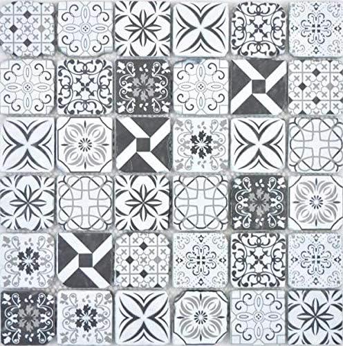 Transparentes Crystal Glasmosaik Retro schwarz/&weiss Wand K/üche Dusche Bad Fliesenspiegel Mosaikfliese Mosaikmatte Mosaikplatte