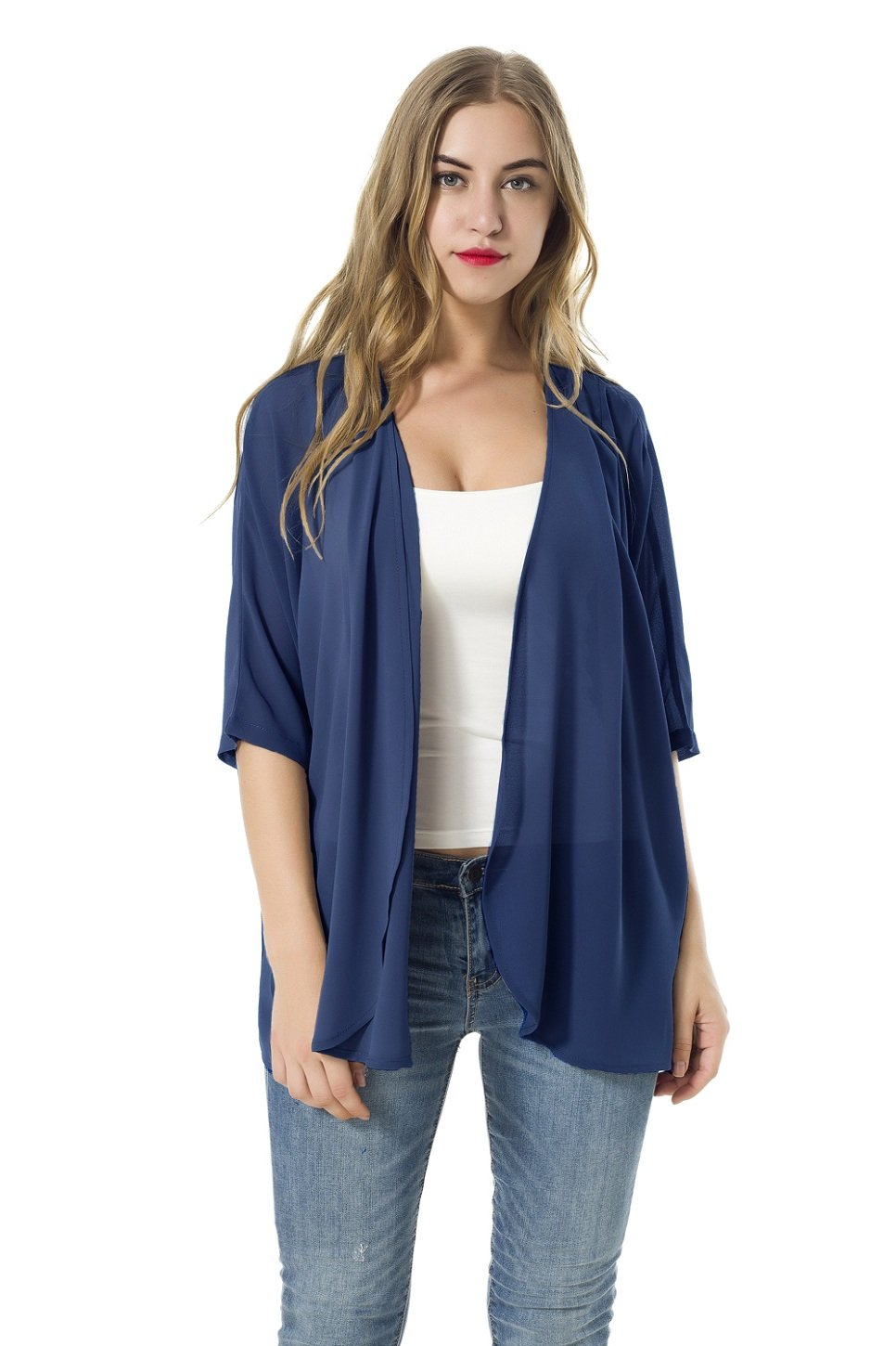 XINAO Women's Open Front Casual Solid Comfy Light Short Sleeve Chiffon Cardigan (L, Blue)