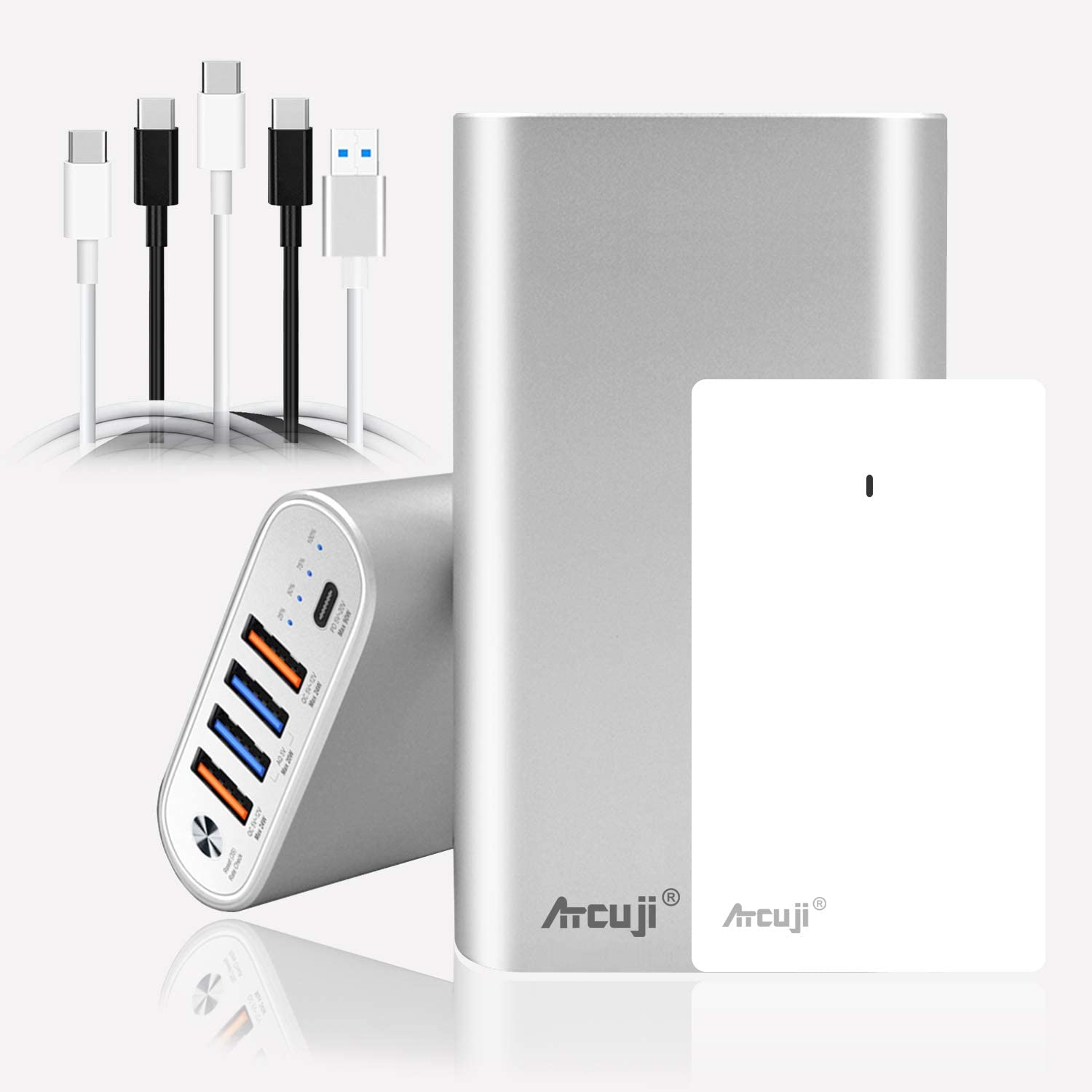 Atcuji 26800mAh USB C 90W External Battery and USB-C 90W Power Adapater, PD Power Bank with 90W Power Delivery, Portable Charger for MacBook Pro/Air Surface Book 2 Pro X 7 HP Dell laptop(TSA-Approved)