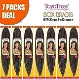 ToyoTress 7Packs/Lot 18Inch Box Braids Crochet Hair 100% Kanekalon Crochet Box Braids Hair Synthetic Hair Braiding Hair Extensions For Black Women(18 Inch,#4)