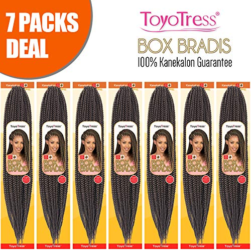 ToyoTress Box Braid Crochet Hair 24Inch 7Packs 100% Kanekalon Crochet Box Braids Hair Synthetic Hair Braiding Hair Extensions For Black Women (24 Inch,#4)